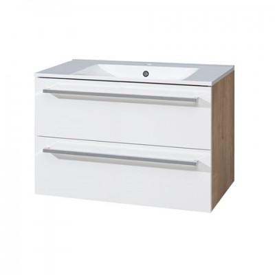 Koupelnová skříňka s keramickým umyvadlem 80 cm,bílá/dub,...