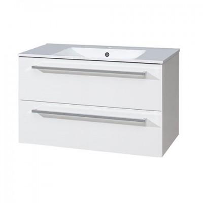 Koupelnová skříňka s keramickým umyvadlem 100 cm, bílá/bílá