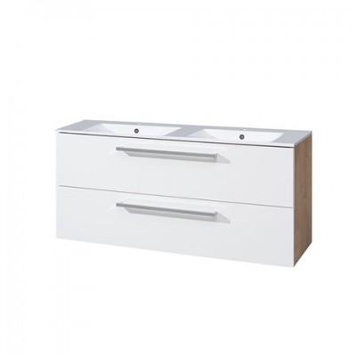 Koupelnová skříňka s keramickým dvoumyvadlem 120 cm,...
