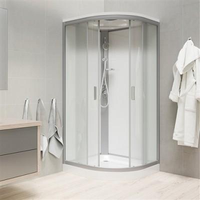 Sprchový box, čtvrtkruh, 90cm, satin ALU, sklo Point,...