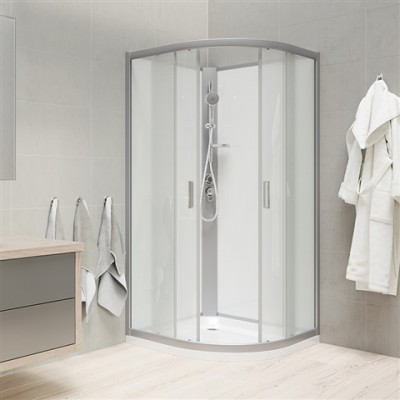 Sprchový box, čtvrtkruh, 90 cm, satin ALU, sklo Point,...