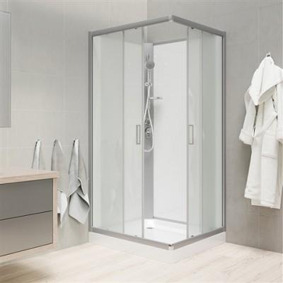 Sprchový box, čtvercový, 90cm, satin ALU, sklo Point,...