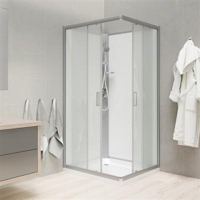 Sprchový box, čtvercový, 90 cm, satin ALU, sklo Point,...