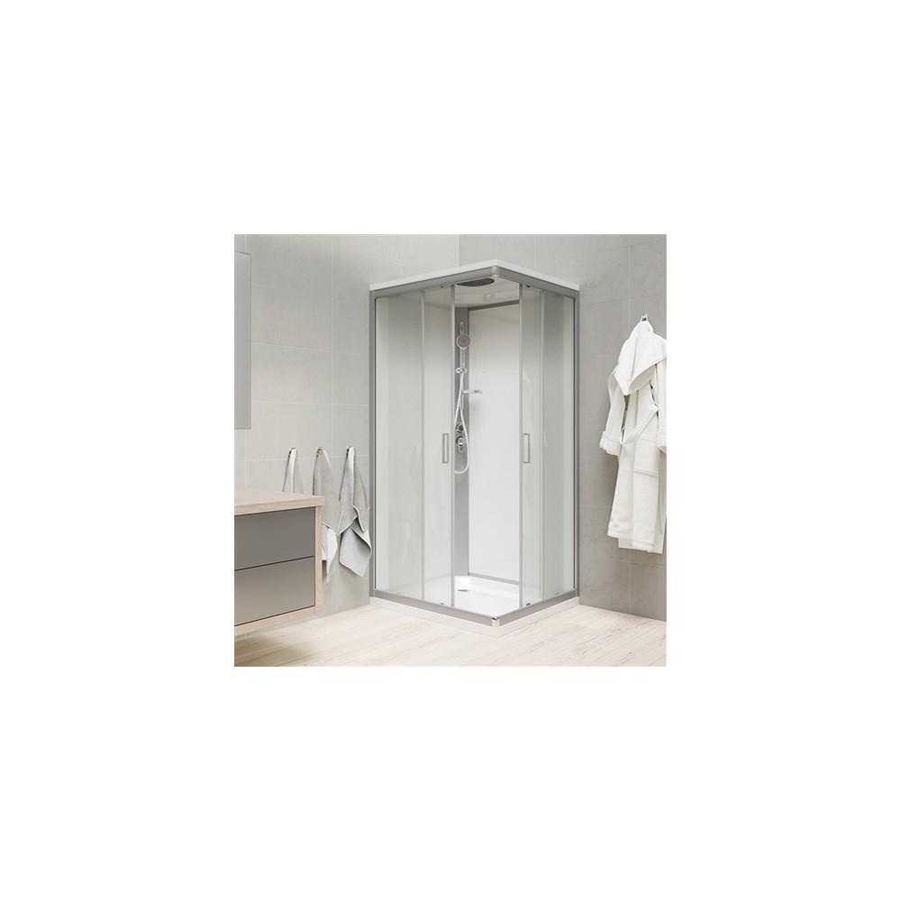 Sprchový box, čtvercový, 90 cm, satin ALU, sklo Point, zadní stěny bílé, litá vanička, se stříškou