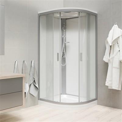 Sprchový box, čtvrtkruh,100 cm, satin ALU, sklo Point,...