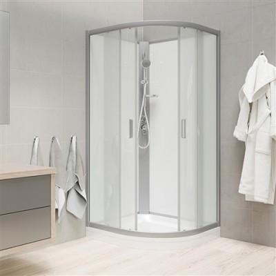 Sprchový box, čtvrtkruh, 100cm, satin ALU, sklo Point,...