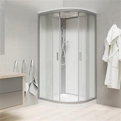 Sprchový box, čtvrtkruh, 80 cm, satin ALU, sklo Point,...