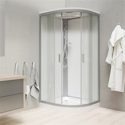Sprchový box, čtvrtkruh, 80cm, satin ALU, sklo Point,...
