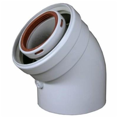 """Koleno 45°, průměr 60/100 mm, pro kotel """"turbo"""" - 2 ks v..."""