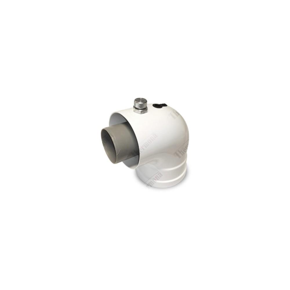 Koleno 90° s přírubou a MM, průměr 60/100 mm, kondenzační kotle