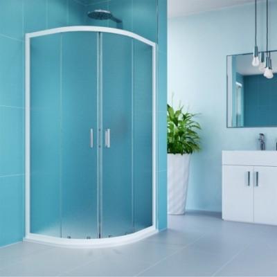 Sprchový kout, Kora, čtvrtkruh, 90 cm, R550, bílý ALU,...